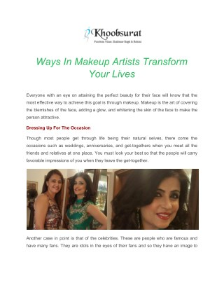 Ways In Makeup Artists Transform Your Lives