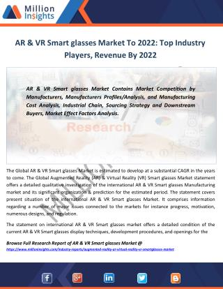 AR & VR Smart glasses Market Share, Top 5 Manufacturers, Sales From 2017-2022