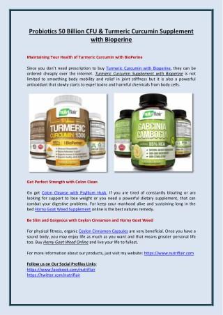 Probiotics 50 Billion CFU & Turmeric Curcumin Supplement with Bioperine