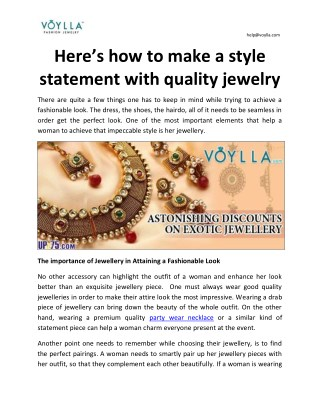 Here's how to make a style statement with quality jewelry