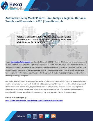 Automotive Relay Industry Research Report till 2020