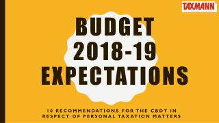 Budget 2018-19 Expectations