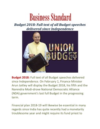 Budget 2018: Full text of all Budget speeches delivered since Independence