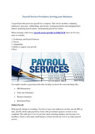 Payroll Service Providers: Serving your Business
