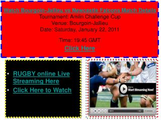 Watch Bourgoin-Jallieu vs Newcastle Falcons Rugby match of A