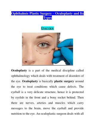 Best Eye Specialist Hospital in Patna Ophthalmic Plastic Surgery – Oculoplasty and Its Types
