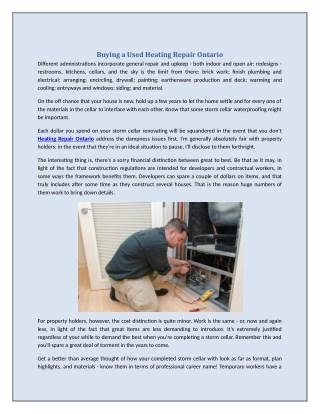 Buying a Used Heating Repair Ontario