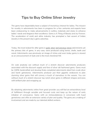 Tips to Buy Online Silver Jewelry