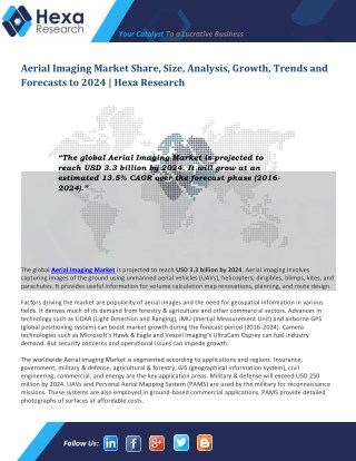 Aerial Imaging Industry Analysis, Size, Growth, Demand and Forecast to 2024