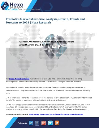 Global Probiotics Market is Expected to Witness Rapid Growth till 2024