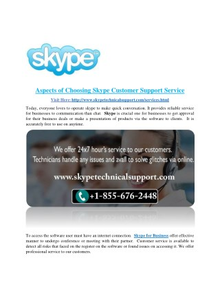 Aspects of Choosing Skype Customer Support Service