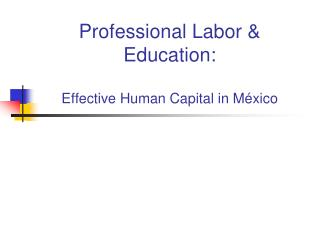 Professional Labor  Education:  Effective Human Capital in M xico