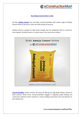Buy Ambuja Cement Online in India