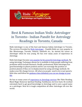 Rishi Astrologer in Toronto - Astrologer in Mississauga, Ontario, Toronto, Canada