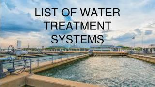 list of water treatment
