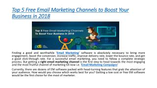 Top 5 Free Email Marketing Channels to Boost Your Business in 2018