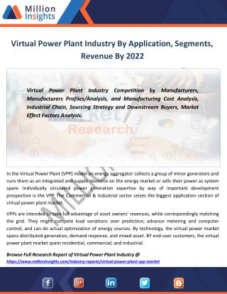 Virtual Power Plant Market by Type, area, Product, Revenue From 2017-2022
