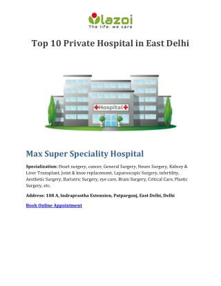 Top 10 Private Hospital in East Delhi - Lazoi