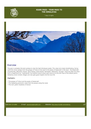 Brochure of 'Kuari Pass Your Pass to the Himalayas' Trekking Tour - Trip360