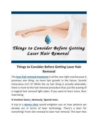 Things to Consider Before Getting Laser Hair Removal