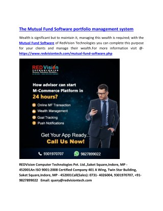 The Mutual Fund Software portfolio management system