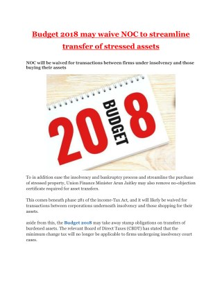 Budget 2018 may waive NOC to streamline transfer of stressed assets