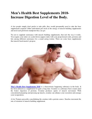 Men's Health Best Supplements 2018- Increase Digestion Level of the Body.