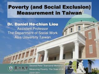 Poverty (and Social Exclusion) Measurement in Taiwan