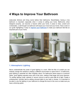 4 Ways to Improve Your Bathroom