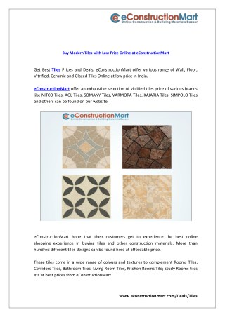 Buy Modern Tiles with Low Price Online at eConstructionMart