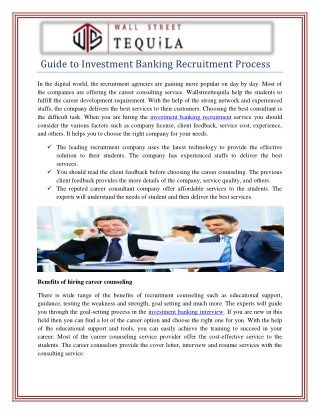 Investment Banking Recruitment Process