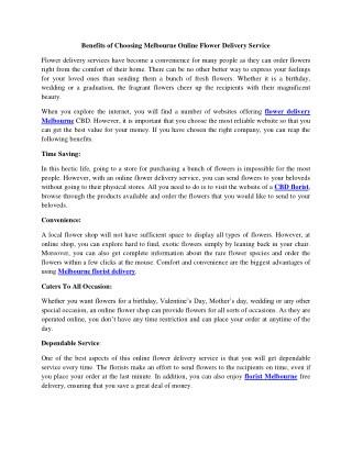 Benefits of Choosing Melbourne Online Flower Delivery Service