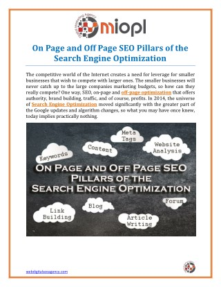 On Page and Off Page SEO Pillars of the Search Engine Optimization