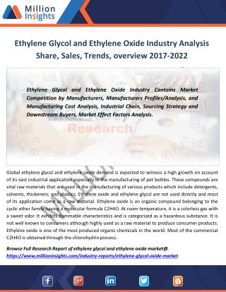 Ethylene Glycol and Ethylene Oxide Industry Analysis of Sales, Revenue, Share, Margine to 2022