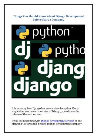 Things You Should Know About Django Development Before Start a Company