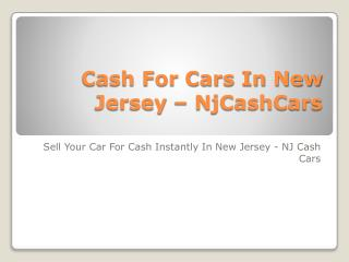 Cash For Cars In New Jersey