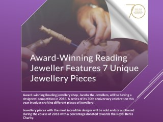 Award-Winning Reading Jeweller Features 7 Unique Jewellery Pieces