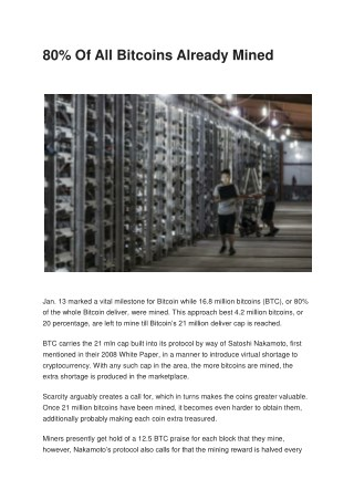 80% bitcoin are mined