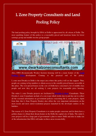 L Zone Property Consultants and Land Pooling Policy