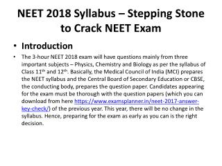 Stay Up-to-date with Latest NEET 2018 Syllabus to Score Well