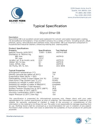Reliable Specification of Glycol Ether EB