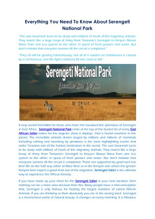 Everything You Need To Know About Serengeti National Park