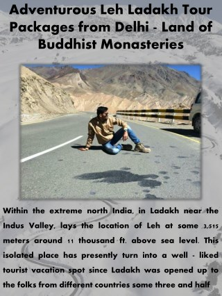 Adventurous Leh Ladakh Tour Packages from Delhi - Land of Buddhist Monasteries