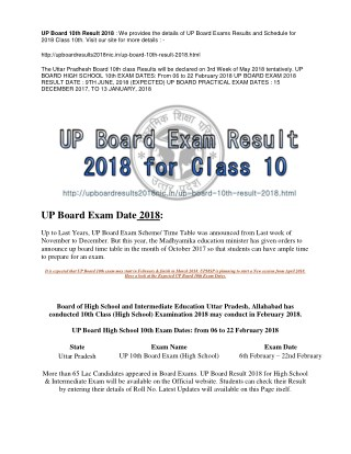 UP BOARD RESULT 2018 FOR CLASS 10TH