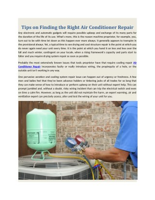 Tips on Finding the Right Air Conditioner Repair