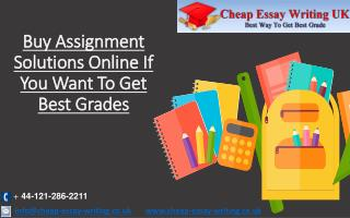 Buy Assignment Solutions Online to Get Best Grades