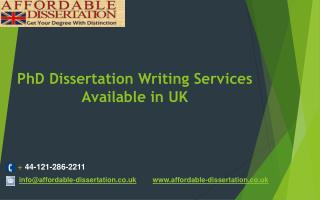 PhD Dissertation Writing Services Available in UK
