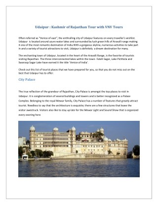 Udaipur-Kashmir of Rajasthan Tour with vnv tours