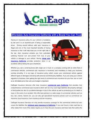 Affordable Auto Insurance California with a Brand You Can Trust
