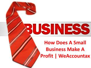 How Does A Small Business Make A Profit | WeAccountax